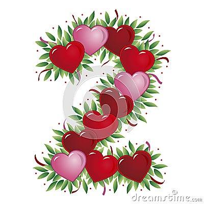 Valentin för nummer s för 2 hjärta