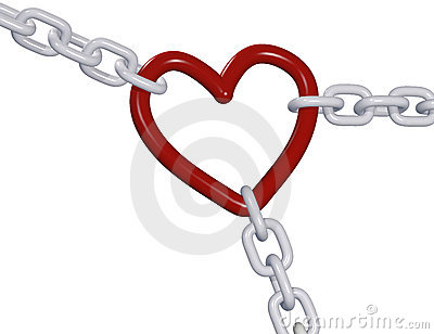 Valentine 3D heart three love chain links pull