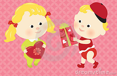 Valentine babies sharing presents