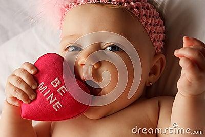 Valentine baby eat heart