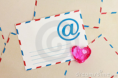Valentine background from airmail e-mail paper