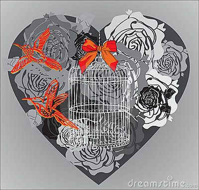 Valentine background with floral heart and cage