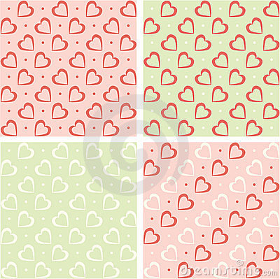 Valentine backgrounds set. Retro hearts wallpaper