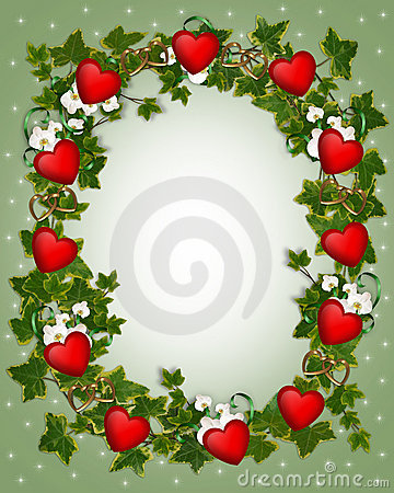 Valentine Border Ivy Wreath with Hearts