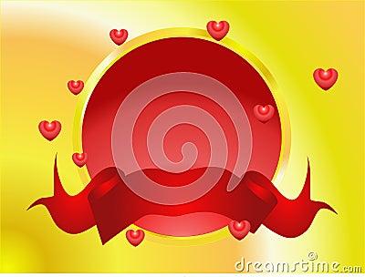 Valentine button with banner