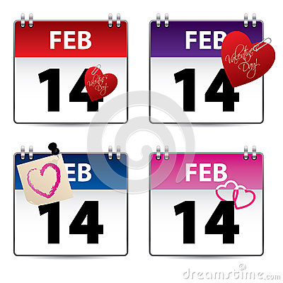 Valentine calendar set of four