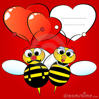 Valentine Card with bees