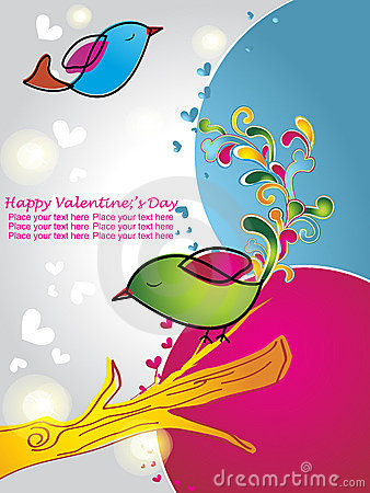 Valentine card with cute birds with flowers