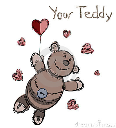 Valentine card design. Teddy