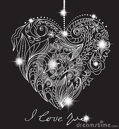 Valentine card with floral black and white heart