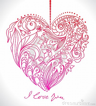 Valentine card with floral heart
