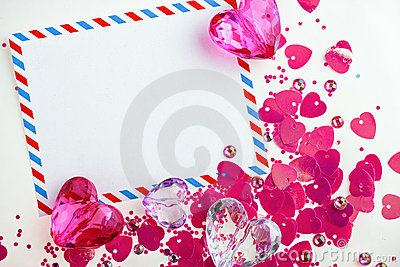Valentine card with glass hearts