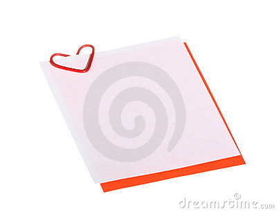 Valentine card with heart-shaped clip; copyspace