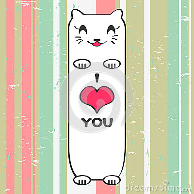 Valentine card with kitty