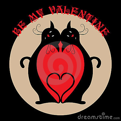Valentine card with two black cats