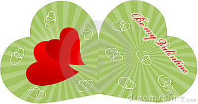 Valentine card with two red hearts