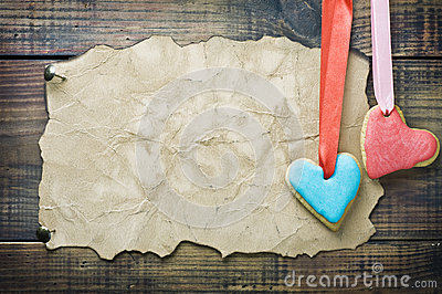 Valentine cookies and old paper with space for congratulations