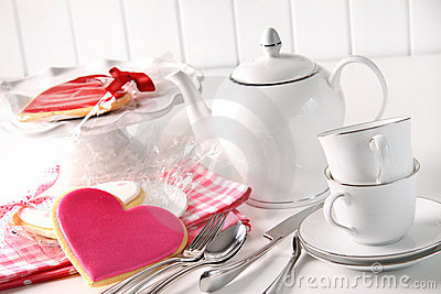 Valentine cookies with teapot and cups