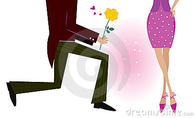 Valentine couple: man on knee is giving woman rose