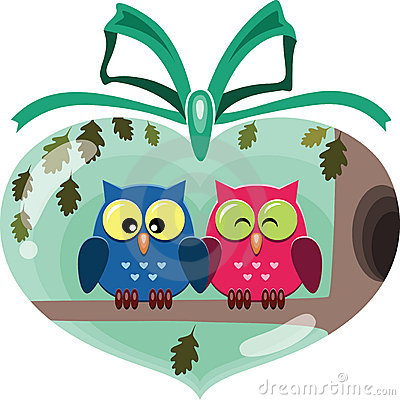 Valentine cute owls