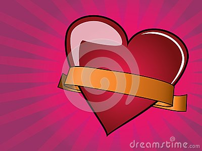 Valentine Day Background with heart and ribbon