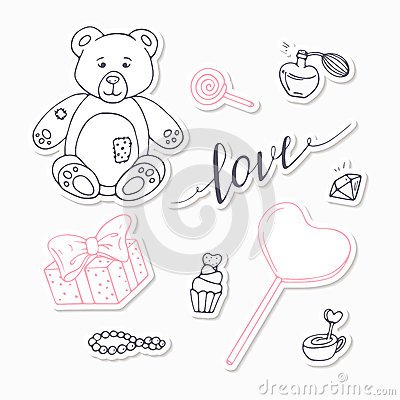 Valentine day black and red stickers collection with LOVE hand drawn sign Vector Illustration