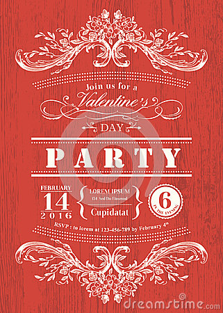 Free Valentine Day Card Party Invitation With Vintage Frame On Red Board Background Stock Photo - 49852140