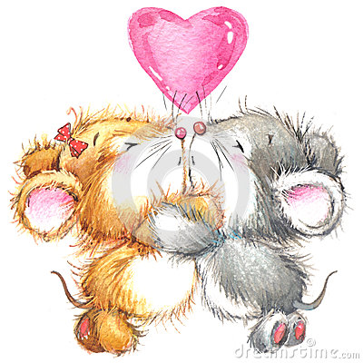 Valentine Day and cute animal. Stock Photo
