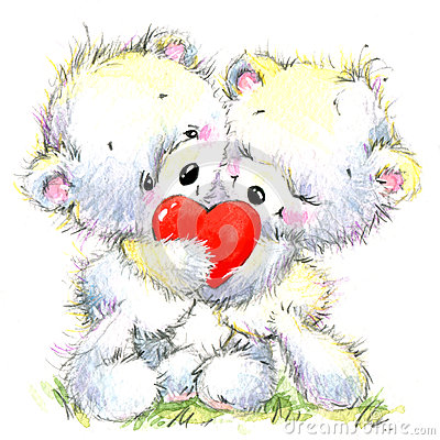 Valentine day. Cute White bear and red heart Cartoon Illustration