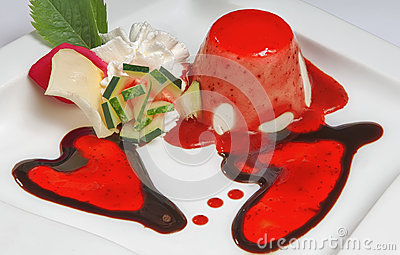 Valentine day dessert with two hearts