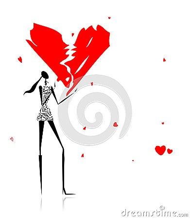 Valentine day. Girl with broken heart