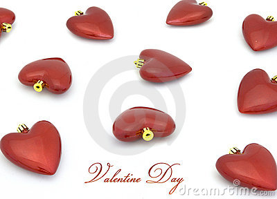 Valentine day heart decor on white