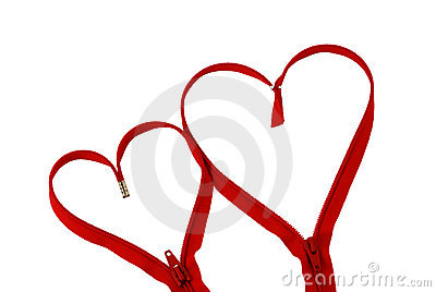 Valentine day red zipper hearts