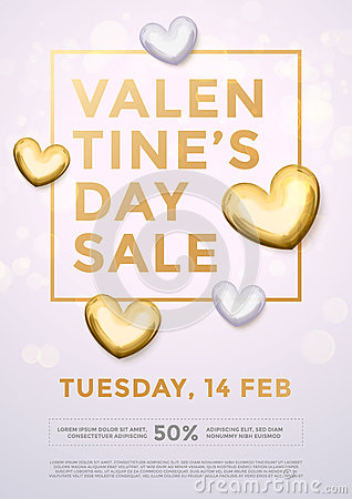 Free Valentine Day Sale Gold Heart Glitter Poster Stock Photos - 85282093