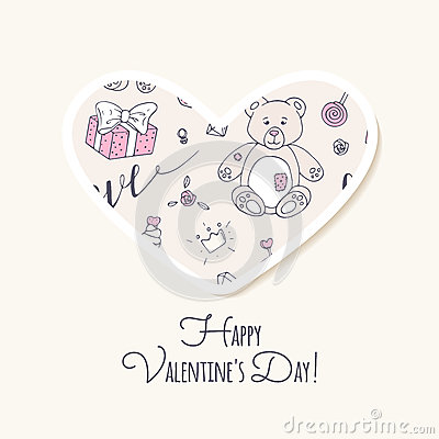 Valentine day sticker. Love heart form Vector Illustration