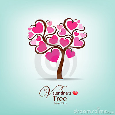 Valentine Day Tree pink heart illustration
