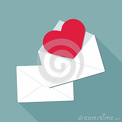 Free Valentine Day. Valentine Envelope With Red Heart Stock Images - 109527514