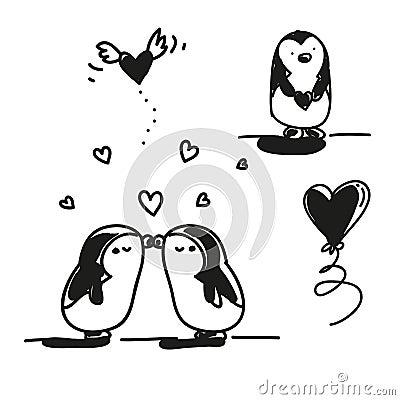 Valentine de pingouins
