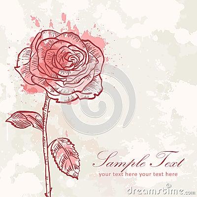 Valentine flower grunge invitation love card