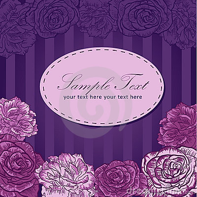 Valentine flower stripe invitation love card