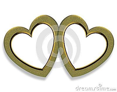 Valentine Gold Hearts Frame
