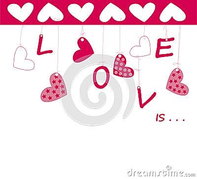 Valentine greeting card wiht hearts