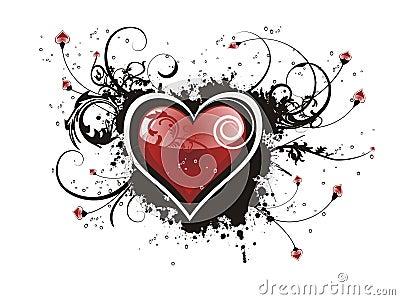 Valentine grunge heart floral