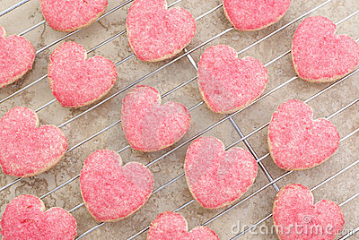 Valentine Heart Cookies on Cooling Rack