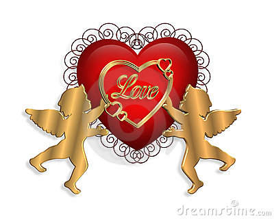 Valentine Heart and Cupids 3D