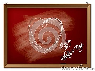 Valentine heart drawn on red chalkboard