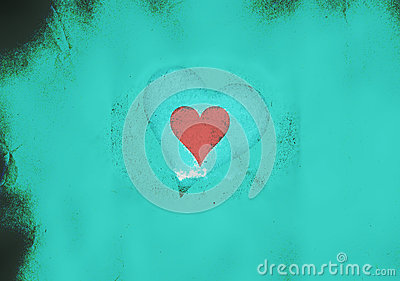 Valentine heart on a light blue grunge background