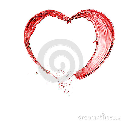 Valentine heart made of red wine