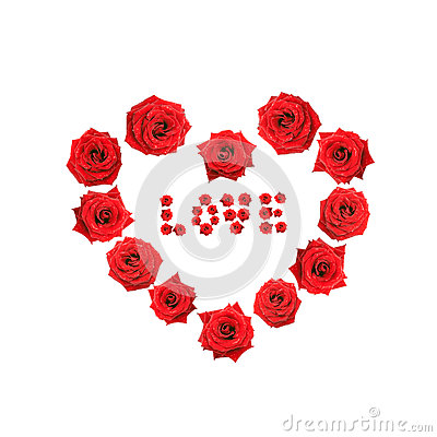Valentine heart made of roses with the word