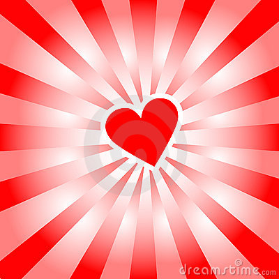 Valentine Heart radiates red rays of love